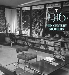 architect Richard Neutra (whose living room is pictured) introduced the mid-century modern aesthetic to the California suburbs. In 1946, he built the Kaufmann House in Palm Springs. Similar to Neutra's own home, the now-famous Kaufmann House was characterized by open floor plans, clean lines and vast windows that opened to the outdoors.