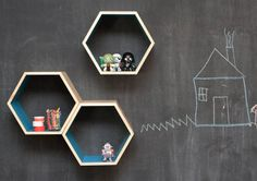 As Seen on Apartment Therapy // Turquoise Floating Honeycomb Shelves: Set of 3 Honeycomb Shelves, Hexagon Shelves, Geometric Shelves, Apartment Therapy, Unicorn Pinata, Regal Design, Shelf Design, Kid Spaces, My New Room