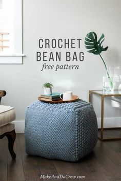 Great use for old pillows! This free crochet pouf pattern uses economical yarn to make a chunky crochet pouf that works as a side table, ottoman or bean bag chair. So much texture!