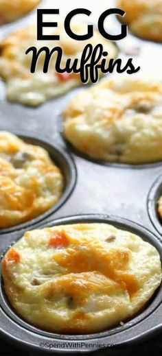 Delicious Make-Ahead Egg Muffins are the perfect breakfast on go! Cheese and eggs loaded with your favorite toppings are quick, easy and heat in just 30 seconds! What's For Breakfast, Breakfast Items, Low Carb Breakfast, Perfect Breakfast, Breakfast Dishes, Breakfast Recipes, Quick Easy Breakfast, Breakfast Egg Muffins, Make Ahead Brunch Recipes