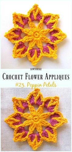 Poppin Petals Flower Free Crochet Pattern -Easy #Crochet #Flower Appliques Free Patterns