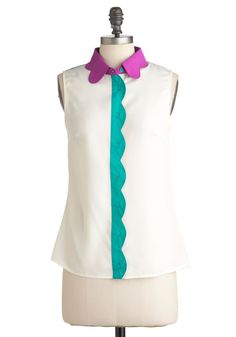 Petal Patch Top in Magenta - Blue, Purple, Color Block, Scallops, Casual, Sleeveless, Mid-length, White, Buttons