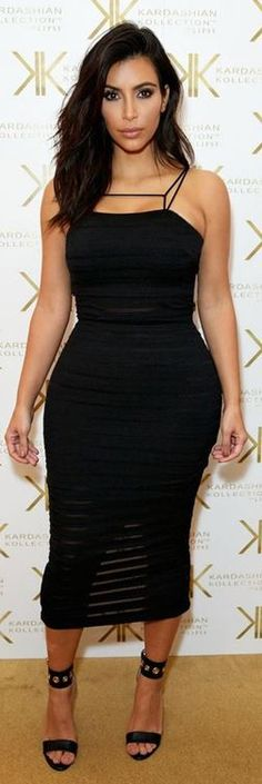Who made Kim Kardashian's black dress that she wore in London