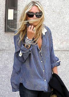 over-sized shirt w jewls & watch. ON watch ALERT :)