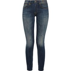 R13 Kate paint-splattered mid-rise skinny jeans ($138) ❤ liked on Polyvore featuring jeans, pants, bottoms, denim jeans, jeans/pants, mid denim, medium rise jeans, r13 jeans, patterned skinny jeans and skinny leg jeans