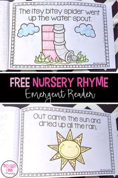 Try this free itsy bitsy spider nursery rhyme emergent reader to use with your preschool or kindergarten students. then try my nursery rhymes bundle which Free Nursery Rhymes, Nursery Rhymes Preschool, Nursery Rhyme Theme, First Grade Freebies, Kindergarten Freebies, Kindergarten Activities, Preschool Ideas, Rhyming Preschool, Rhyming Activities