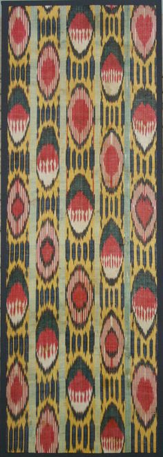 "Ikat (Uzbekistan) Section of Loom Length 52"" X 19"" 3rd quarter 19th century Silk Ikat Warp; White Cotton Weft; Warp Faced Plain Weave. Photo..."