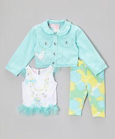 #zulily! Aqua Rhinestone Button-Up Jacket Set - Infant, Toddler & Girls by Nannette Girl #zulilyfinds