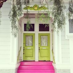 pink steps.green doors.