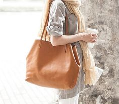 Simplicity Tote bag- large, carry all, light, finest Italian leather