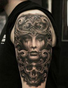 Skull tattoos are amongst the oldest and most popular tattoos worldwide. Skull Sleeve Tattoos, Body Art Tattoos, Tattoo Drawings, Cool Tattoos, Tatoos, Tattoo Expo, Tatoo Art, Tattoo Ink, State Tattoos