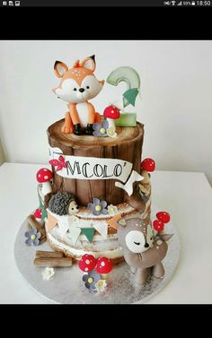 darling woodland forest creatures cake