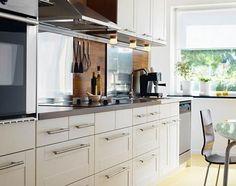 more adel...gotta love Ikea Ikea Adel Kitchen, White Ikea Kitchen, Open Kitchen Cabinets, Kitchen Cabinet Drawers, Ikea Cabinets, New Kitchen, Kitchen Decor, Upper Cabinets, Cabinet Furniture