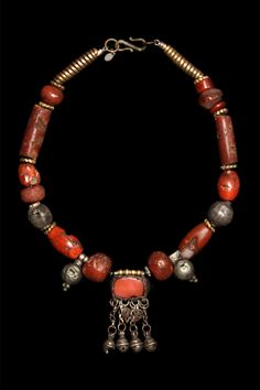 Marion Hamilton :: Necklace      Charming necklace composed of mostly 19th c. jasper and carnelian with Yemeni silver amulets, #131, $395 Buddha Jewelry, Hippie Jewelry, Tribal Jewelry, Jewelry Art, Silver Jewelry, Jewelry Accessories, Jewelry Design, Punk Jewelry, Yoga Jewelry