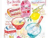 La recette des Madeleines Poster pour la cuisine Recette illustrée