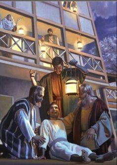 Hechos 20:9 y un joven llamado Eutico, que estaba sentado en la ventana, rendido de un sueño profundo, por cuanto Pablo disertaba largamente, vencido del sueño cayó del tercer piso abajo, y fue levantado muerto.