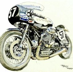 McMillan Moto Guzzi V7 Sport race bike illustration by Ian McGowan from photograph by David McMillan.