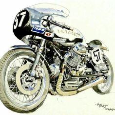 McMillan Moto Guzzi V7 Sport race bike illustration by Ian McGowan from photograph by David McMillan.