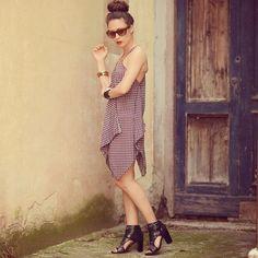 Polka dot mini dress in silk!