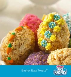 Your kids can use plastic Easter eggs to shape Rice Krispies Treats™. And you can help them decorate each one a little differently!