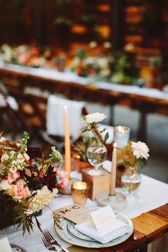 gorgeous table setting for a #fallwedding - photo by http://www.patfureyphoto.com/ - http://ruffledblog.com/brooklyn-wedding-with-breathtaking-floral-design/ | Ruffled