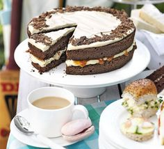 Chocolate caramel cake with sour cream frosting - one of my faves!