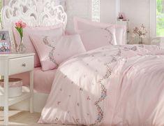 Exclusive Lenjerie de Pat Bumbac Satin Double cu Broderie - Lara Pudra Bed Sheets, Comforters, Satin, Blanket, Stuff To Buy, Home, Creature Comforts, Quilts, Elastic Satin
