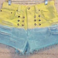 Vintage  High Waisted Hand Dyed  Denim Shorts - Studded Waist 30  inches