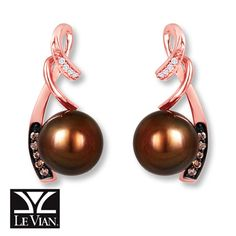 LeVian® Earrings Cultured Pearl & Diamonds 14K Strawberry Gold®