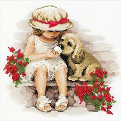 Kit punto de cruz, niña con perrito