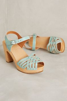 Swedish Hasbeens Braided Sky High Clogs in Mint (Anthropologie) Swedish Hasbeens, Shoe Boots, Shoes Sandals, Shoe Bag, Clogs, Kitten Heel Pumps, All About Shoes, Sky High, New Shoes