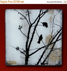 Black Bird Baum handgemachte Glas und Holz Wand Blox von