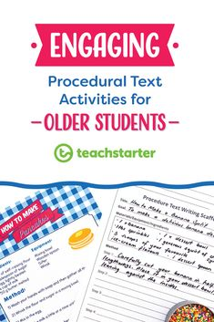 Engaging Procedural Text Activities for Older Students - Teach Starter Blog Making procedural text studies fun! These hands-on classroom activities will have your students love procedure writing in no time.