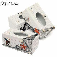Stredozemné more Style Seabird plachtenie Drevená Tissue Box na obrúsky Storage Case Držitelia Domáce Kancelársky stôl Auto Decor Wood Crafts (Čína (pevninská časť))