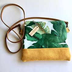 Small monster delicious crossbody bag / leather and fabric / yellow suede / cotton fabric / banana l Small Crossbody Bag, Leather Crossbody Bag, Leather Bags, Suede Leather, Banana Leaves, Stitching Leather, Printed Cotton, Tote Bags, Cotton Fabric