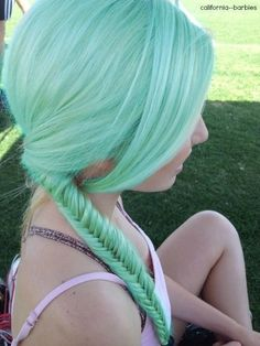 Braided Green Pastel Hair✶ #Hairstyle #Colorful_Hair #Dyed_Hair