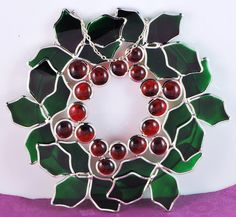 "Stained Glass Holly Leaf Christmas Wreath 9""  $25.00  New Stained Glass Holly Leaf Christmas Wreath  9"" x 9"""