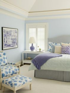 Pale blue walls in bedroom, white crown molding Bedroom Color Schemes, Bedroom Colors, Bedroom Decor, Pastel Bedroom, White Bedroom, Serene Bedroom, Blue Bedrooms, Tiny Bedrooms, Colour Schemes