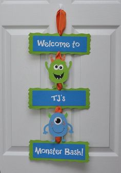 Monster Bash Door Sign Monster Birthday Party by DesignsByDodi
