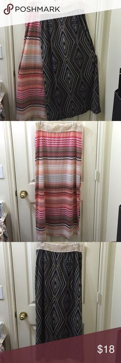 Bundle of 2 Maxi Skirts A bundle of 2 lovely maxi skirts. One with a zig-zag pattern and one with a tribal print pattern. Both are 95% Polyester and 5% Spandex. Never worn and in excellent condition. Will sell separately if you're only interested in one. Bobbie Brooks Skirts Maxi