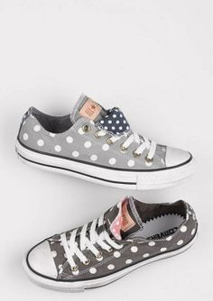 Grey And White Polka Dot Converse