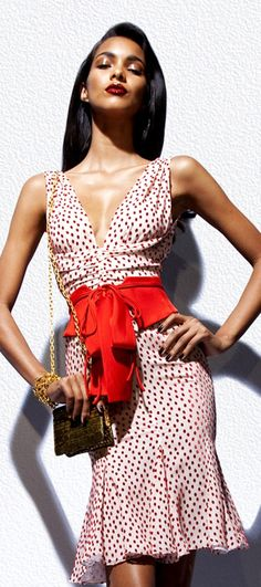 TOM FORD POLKA DOT DRESS WITH BOW DETAIL