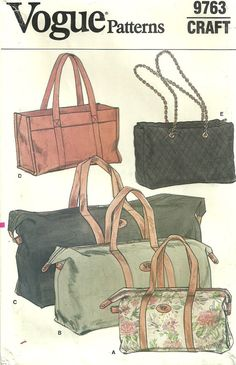 Vogue 9763 Vintage Sewing Pattern Handbag Tote by studioGpatterns, $12.50