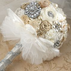 THE Boquet! Brooch Bridal  Bouquet Vintage-Style Bridal Jeweled  Bouquet in Champagne, Ivory and White. $350.00, via Etsy. I need this!
