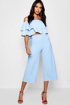 Womens Double Bandeau Top & Culotte Co-Ord Set - Blue - 10 Crop Top Elegante, Fashion Diva Design, Knit Baby Dress, Co Ord Sets, Wide Pants, Black Trousers, Bandeau Top, Piece Of Clothing, Mom Style