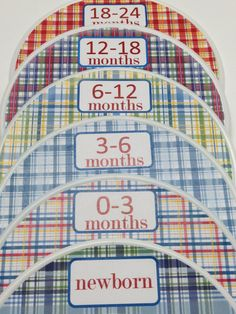 6 Custom Baby Closet Dividers - Pottery Barn Madras Nursery Design - Baby Closet Clothes Organizers - New Baby Boy Girl Shower Gift. $18.00, via Etsy.