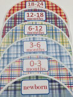 6 Custom Baby Closet Dividers - Pottery Barn Madras Nursery Design - Baby Closet Clothes Organizers - New Baby Boy Girl Shower Gift. $18.00, via Etsy.