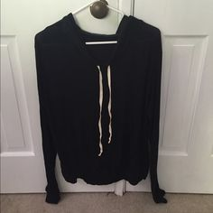 Layla Black Brandy Hoodie More worn than the pink one in my closet. Small hole in arm. So soft!! Brandy Melville Jackets & Coats