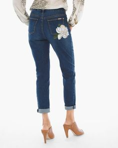 So Slimming Painted Botanical Girlfriend Ankle Jeans