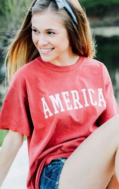 america // fourth of july outfit // comfort colors // @shopriffraff Fourth Of July Shirts, 4th Of July Outfits, Holiday Outfits, Summer Outfits, Cute Outfits, July 4th, Tahiti Tattoo, Comfort Colors, America